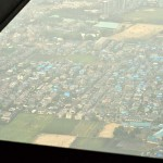 MV-22Bオスプレイ機内から見える益城町 =23日午後, 熊本市