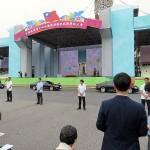 5月20日、台湾総統就任式が行われた台北市内の台湾総統府前。新旧総統の車輌が通過した