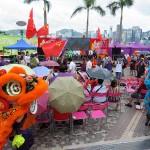 7月1日、香港の尖沙咀(チムサーチョイ)で行われた親中派団体の愛国愛港大連盟による香港返還19周年の記念イベント。獅子舞が披露された