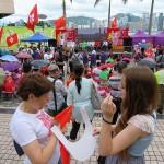 7月1日、香港の尖沙咀(チムサーチョイ)で行われた親中派団体の愛港之声、正義連盟党、香港政研会が結成した愛国愛港大連盟による香港返還19周年の記念イベント