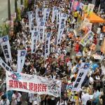 香港メディアが中国系に買収されることに危機感を持つ横断幕
