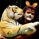 「トラを救え」キャンペーンで、顔にペイント