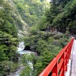 奥鐘橋の入り口から谷を望む