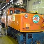 きょうは「鉄道の日記念イベント」で機関庫の中を見学できた。これは凸型の機関車のEDS13。昭和32年製。