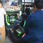 TQインタラクティブのブースでは、VR技術を活用した戦車操縦コンテンツを提供