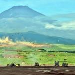 特科火力による「富士山」の形状を表現した同時弾着射撃 (8月27日撮影)