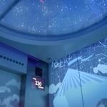 エレベーター内はプラネタリウムの様な照明