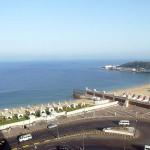 アレキサンドリアのホテルから見たモンタザ宮殿に面したアレキサンドリア湾