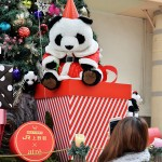 JR上野駅前に飾られたクリスマスツリーもパンダを強調。スマートフォンで写真を撮る人の姿が絶えない=22日午後、東京台東区2