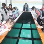 ハテの浜に向かうグラスボートで海底をのぞく観光客ら