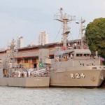 旧港湾地区の波止場に停泊する海軍の艦艇、ベレンはアマゾン川パトロールの主要基地だ