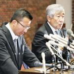 日本大の内田正人前監督(右)と井上奨コーチ