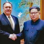 金正恩朝鮮労働党委員長(右)とポンペオ米中央情報局