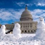 米議会前に雪だるま、ワシントンで25㌢の積雪