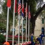 ハノイ市内では第2回米朝首脳会談の歓迎ムードを盛り上げるため、あちこちで花が飾られている