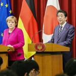 メルケル首相(左)と安倍晋三首相