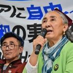 「アジアに自由、人権、平和に実現を!」を掲げて記者会見する自由インド太平洋連盟のラビア・カーディル会長 =28日午後、大阪市の中央会館
