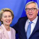フォンデアライエン独国防相(左)とユンケル欧州委員長