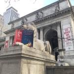 """NYPL本館前の2体のライオン像には「私たちが愛する125冊」にちなんだ飾りがされた。写真は、F・スコット・フィッツジェラルド作『グレート・ギャツビー(原題:The Great Gatsby)』を読むような飾りがされた「フォーティテュード(Fortitude)」。向かって左側の「ペイシェンス(Patience)」はトニー・モリスン作の歴史小説『ビラヴド(原題:Beloved)』を""""読書中""""=19日、ニューヨーク(撮影:田部井)"""