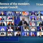 EU首脳会議のビデオ会議風景(2020年6月19日、EU理事会公式サイドから)
