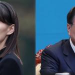 8日、ソウルの大統領府で、首席補佐官会議に臨む韓国の文在寅大統領(EPA時事) 北朝鮮の金与正・朝鮮労働党第1副部長=2019年3月、ハノイ(AFP時事)