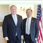 ポンペオ米国務長官(左)と国務省顧問のマイルズ・ユ氏(同省提供)サムネイル