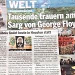 ジョージ・フロイドさんの死を報じるオーストリア日刊紙エステライヒ(2020年6月9日付)