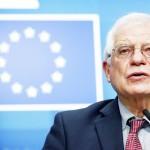 13日、ブリュッセルで、記者会見する欧州連合(EU)のボレル外交安全保障上級代表(外相)(AFP時事)