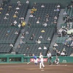 球場に歓声、プロ野球公式戦で有観客試合を開催