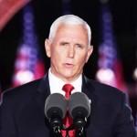 米共和党大会3日目の26日、東部メリーランド州ボルティモアで指名受諾演説を行うペンス副大統領(AFP時事)