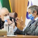 25日、テヘランで共同記者会見するイランのサレヒ原子力庁長官(左)と国際原子力機関(IAEA)のグロッシ事務局長=イラン原子力庁提供(EPA時事)