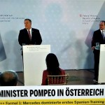 シャレンベルク外相とポンぺオ国務長官の共同記者会見(2020年8月14日、オーストリア民間放送「OE24TV」の中継から)