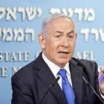 13日、エルサレムで記者会見するイスラエルのネタニヤフ首相(AFP時事)