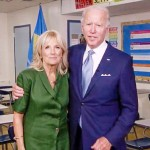 8日、米民主党全国大会にオンラインで出演したバイデン前副大統領と夫人のジルさん(左)(AFP時事)
