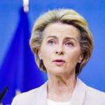 欧州連合(EU)のフォンデアライエン欧州委員長=8日、ブリュッセル(AFP時事)