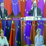 4日、中国の習近平国家主席(左上)とオンライン形式で会談する欧州連合(EU)のミシェル大統領(右上)、フォンデアライエン欧州委員長(右下)、ドイツのメルケル首相(左下)(AFP時事)