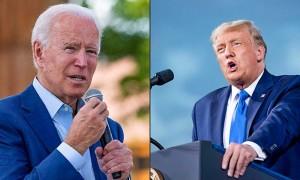 米共和党のトランプ大統領(右)と民主党のバイデン前副大統領(AFP時事)
