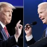 22日、米テネシー州ナッシュビルで開かれた大統領選の候補者討論会に臨んだトランプ大統領(左)とバイデン前副大統領(AFP時事)