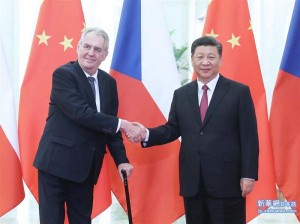 習近平国家主席と会談するチェコのゼマン大統領(新華網日本語版から、2019年4月28日)
