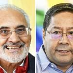 ボリビア大統領選に立候補したカルロス・メサ元大統領(左)とルイス・アルセ元経済・財務相(AFP時事)