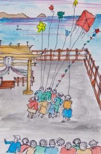『端島(軍艦島)の詩』に掲載された、戦前の島民の生活を描いた「夕焼けの色」の挿絵