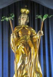 「サンクト・コロナ・アム・ヴェクゼルの教会の聖コロナ像」(「聖人辞典」から)