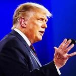29日、米中西部オハイオ州クリーブランドで、第1回大統領選討論会に臨むトランプ大統領(EPA時事)