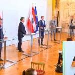 新型コロナ感染対策で記者会見に臨むオーストリア政府関係者(2020年9月17日、オーストリア連邦政府公式サイトから)