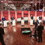 市議会選の暫定結果を受け、各党代表の記者会見風景(オーストリア国営放送HPから)