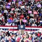10月13日、米ペンシルベニア州で開かれたトランプ大統領の選挙集会(UPI)