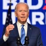 6日、米東部デラウェア州ウィルミントンで演説する民主党のバイデン前副大統領(AFP時事)
