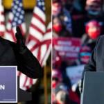 2日、米東部ペンシルベニア州で演説するトランプ大統領(右・EPA)とバイデン前副大統領(左・AFP)