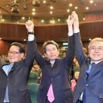 2015年、新政治民主連合(現、共に民主党)の代表選挙に出馬した朴智元(左端)、李仁栄(中央)、文在寅の3氏=韓国紙セゲイルボ提供