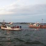 旅客船「Shrimp of Art」が漂流物に衝突、沈没